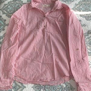 Pink and white plaid Hollister blouse